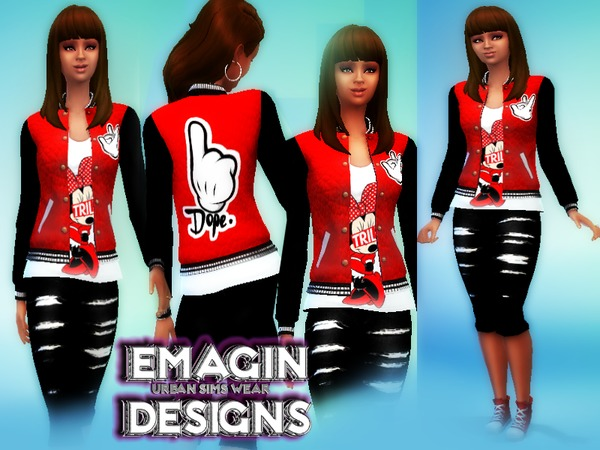 Ladies Dope Varsity Jacket & Trill Tee /w Capris by emagin360
