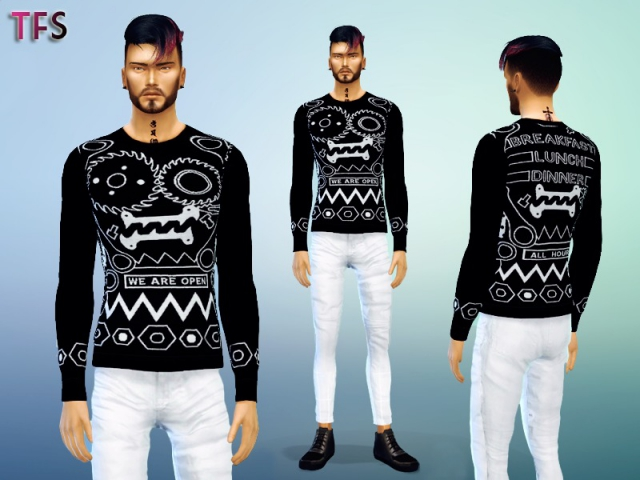 Printed Tight Sweater by TwistedFate Sims