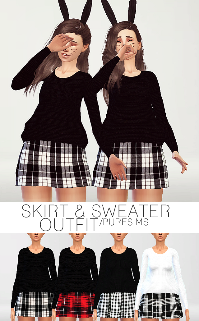 Skirt & sweater outfit by PureSims
