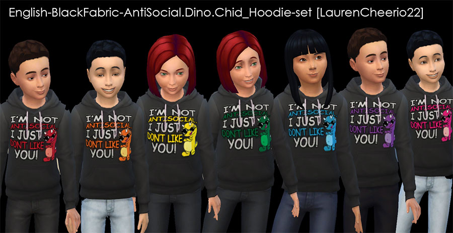 I'm Not Anti-social, I just don't like you Dinosaur-- Unisex Kid's Hoodies by Lauren_Cheerio