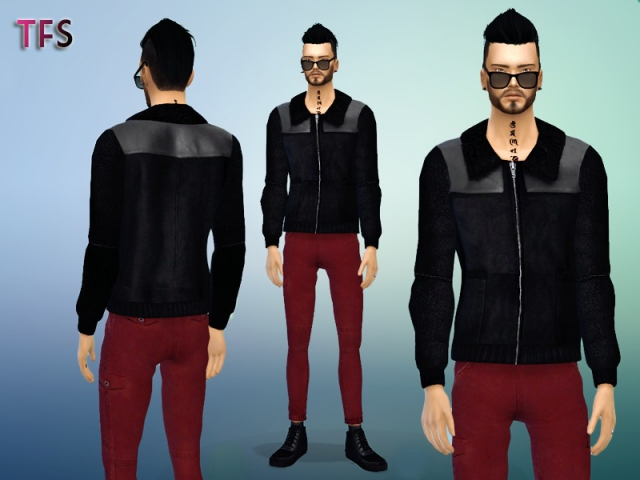 Leather Jacket with Fur Collar by TwistedFate Sims