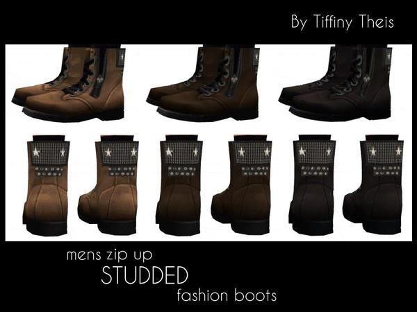 Zip Up Studded Fashion Boots by tiffybee