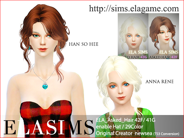 Sims 4 Asked Hair 42F / G by Elasims