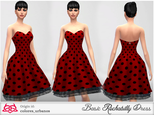 Basic Rockabilly Dress Strapless by Colores Urbanos