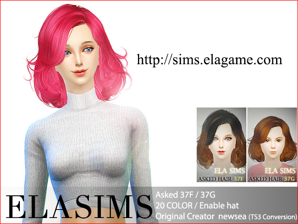 Sims 4 Asked Hair 37F / G by Elasims
