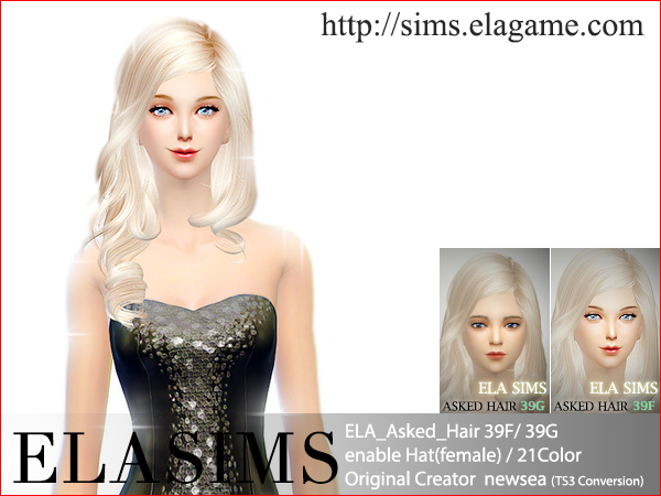Sims 4 Asked Hair 39F / G by Elasims