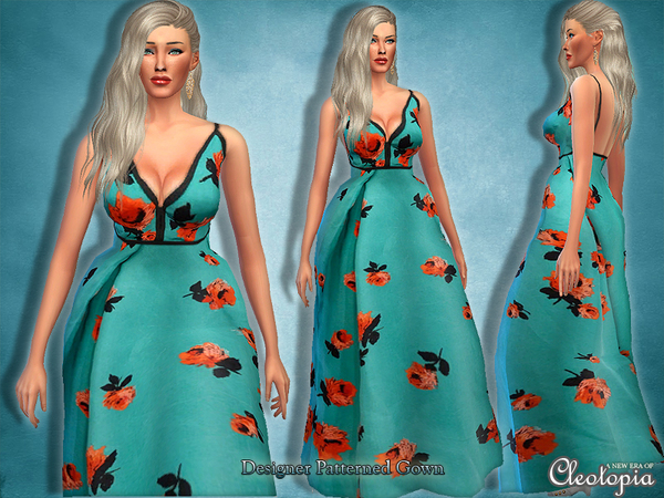 Set19- Designer Pattern Red Carpet Gown by Cleotopia