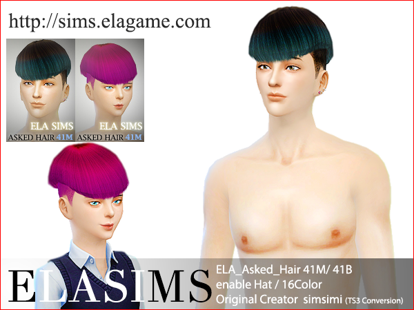 Sims 4 Asked Hair 41M / B by Elasims