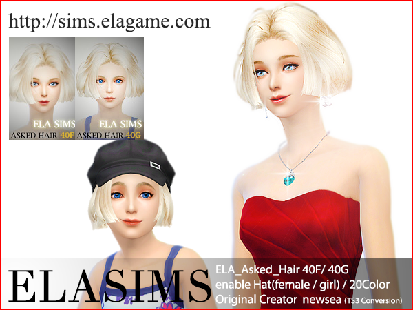 Sims 4 Asked Hair 40F / G by Elasims
