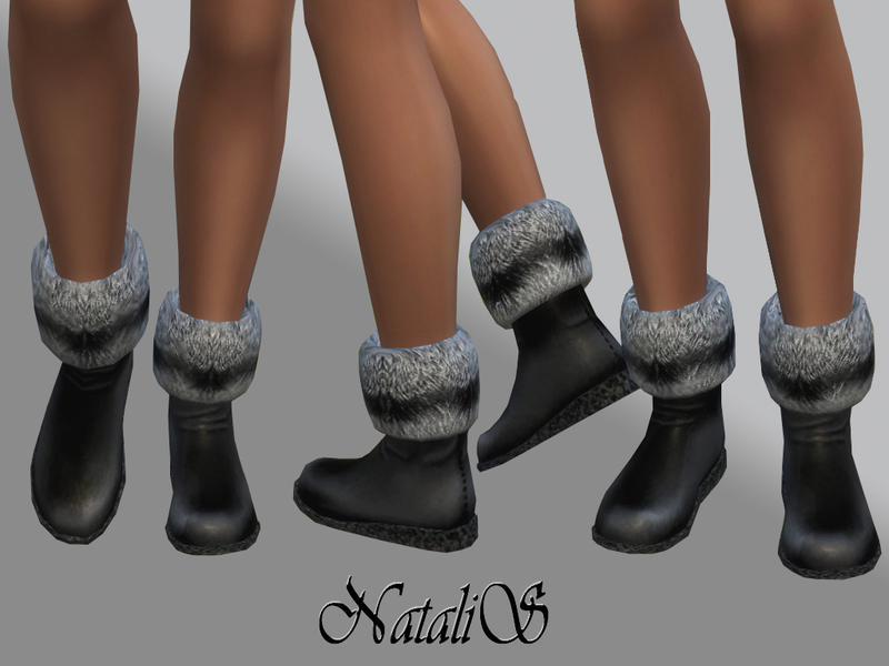 NataliS_Flat low boots with fur FT-FE