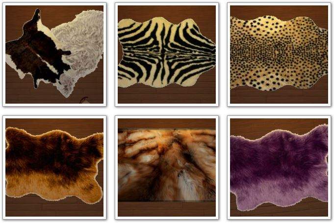 12 animal fur rugs at Amberlyn Designs