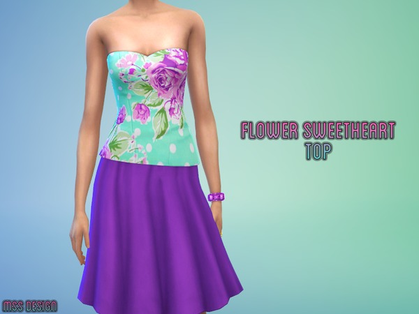 Flower Sweetheart Top by midnightskysims