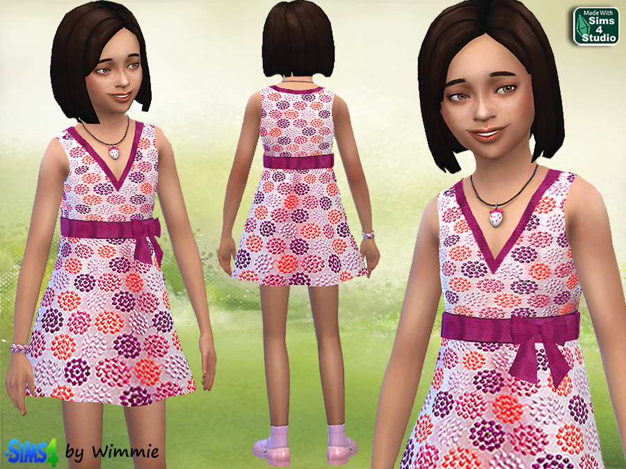 Pink Silk dress for Girls at Just For Your Sims