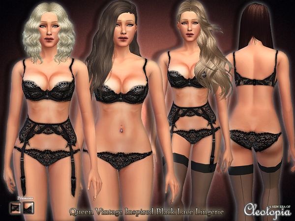 Set20- Queen Vintage Inspired Lingerie by Cleotopia