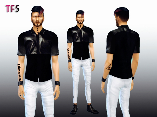 Black Leather Shirt by TwistedFate Sims