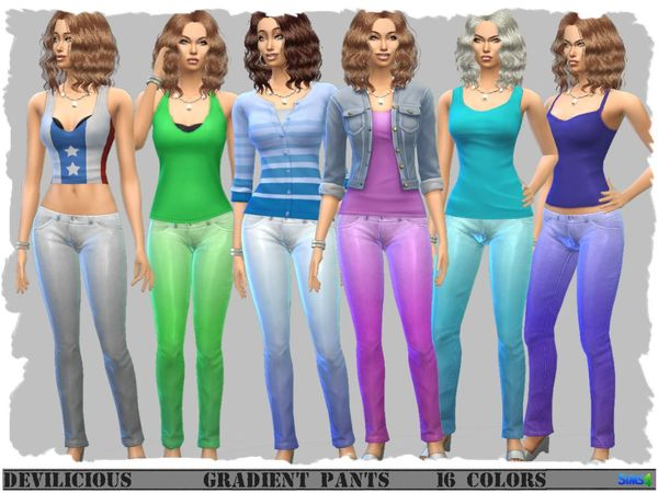 Gradient Pants in Satin Look by Devilicious