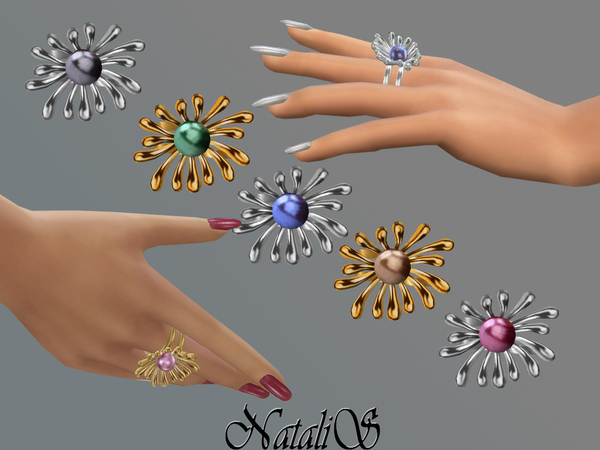 NataliS_Pearl flower ring FT-FE