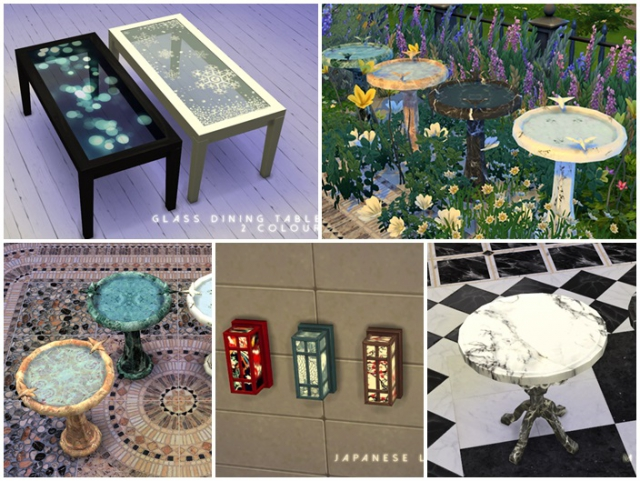 Tables, Lighting and Birdbath Recolors by TokSik