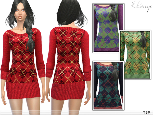 Argyle Sweater Dress by ekinege