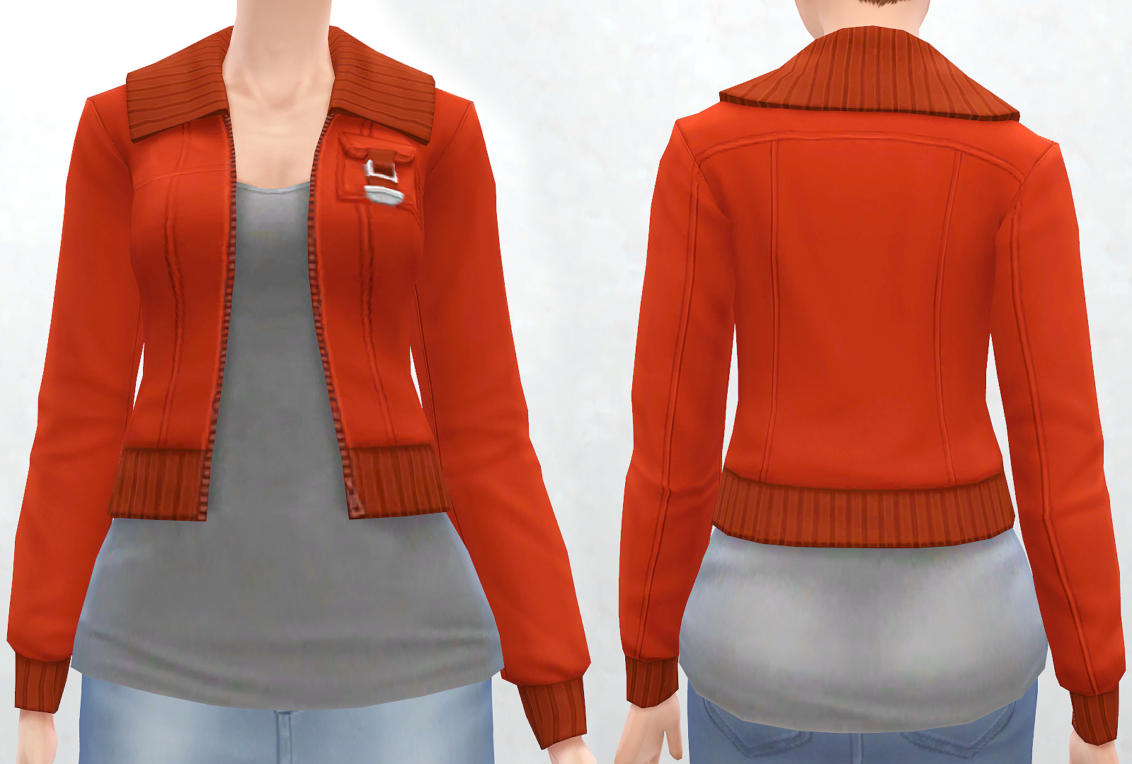 Military Jacket with Simple Tee for Teen - Elder Females by Pickypikachu