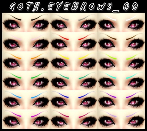 Goth eyebrows 00 at DecayClowns Sims