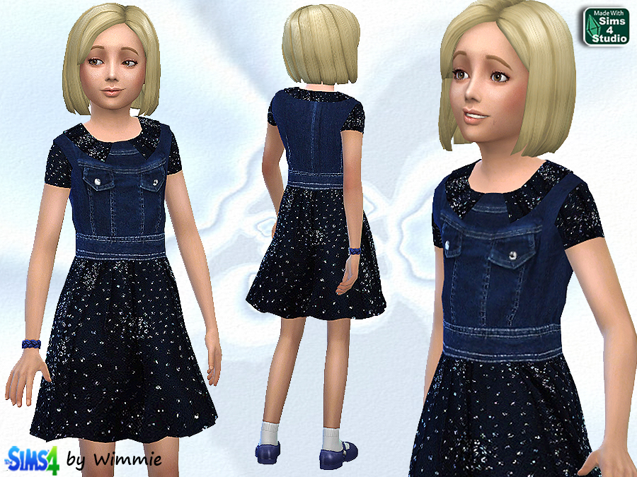 Denim Tulle Dress for Girls at Just For Your Sims