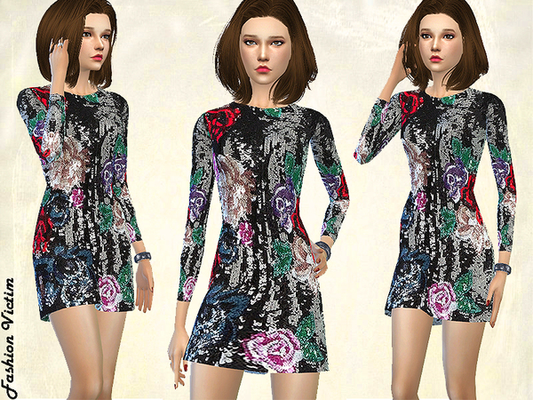 Floral Sequined Dress by Fashion Victim