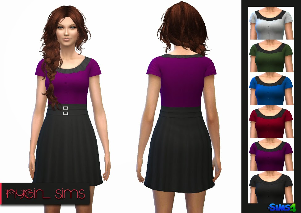 Double Belted Button Dress at NyGirl Sims