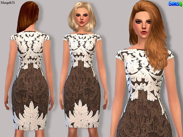 Sims 4 Praline & Cream Dress by Margeh-75