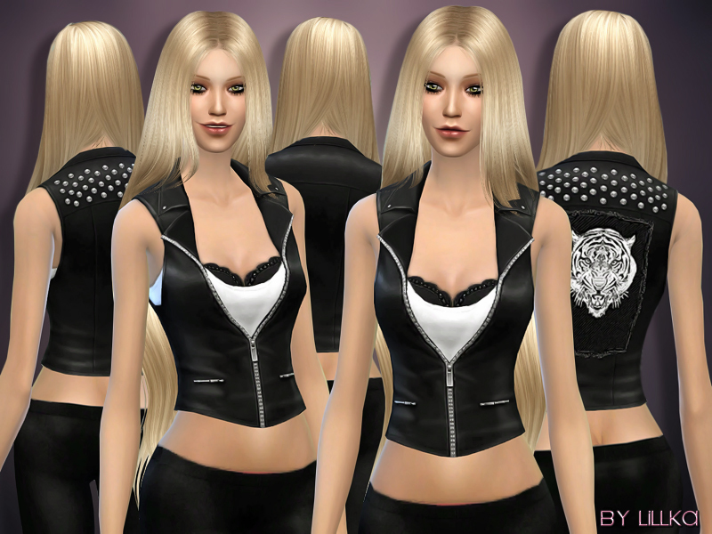 Tiger Patched Leather Vest BY lillka
