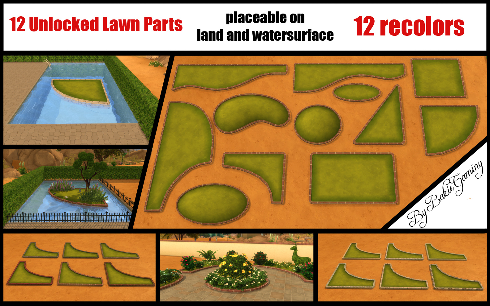 Unlocked Lawn Parts (12 parts) by Bakie