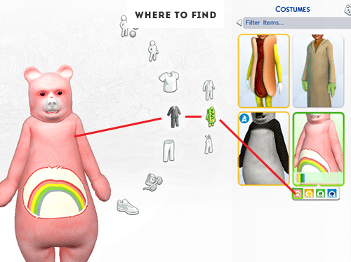 CAREBEARS CHILD OUTFIT 4 colors at ELRsims