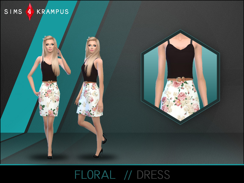 Floral Dress by Sims4Krampus