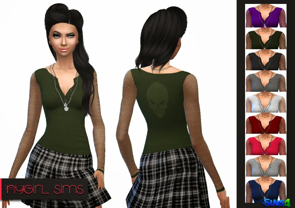 Mesh Sleeve Skull Shirt at NyGirl Sims