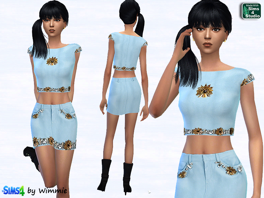 Leather skirt and crop top set at Just For Your Sims