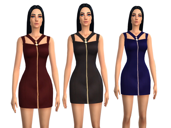 Heart Zip Detail Cut Out Dress - 3 colors by Weeky