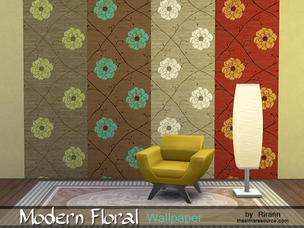 Modern Floral Wallpaper by Rirann