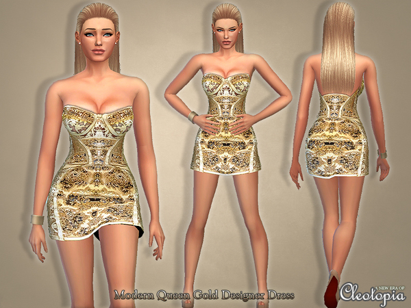 Set23- Modern Queen Gold Designer Dress by Cleotopia