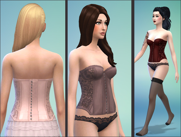 Lace corset in 5 colours by feylyren