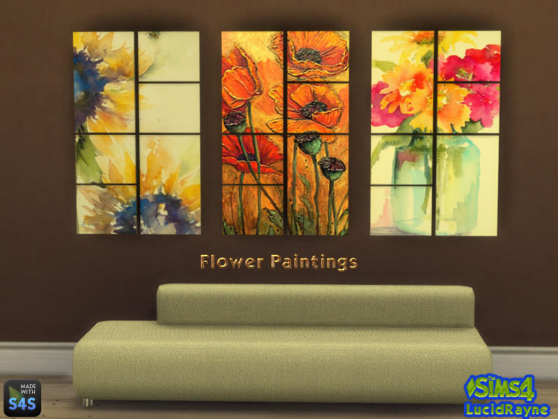 3 Flower Paintings by LucidRayne
