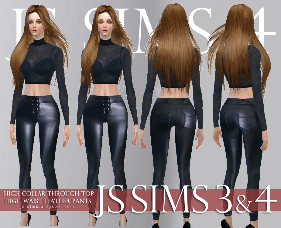 High Collar Through Top & High Waist Leather Pants by JS SIMS