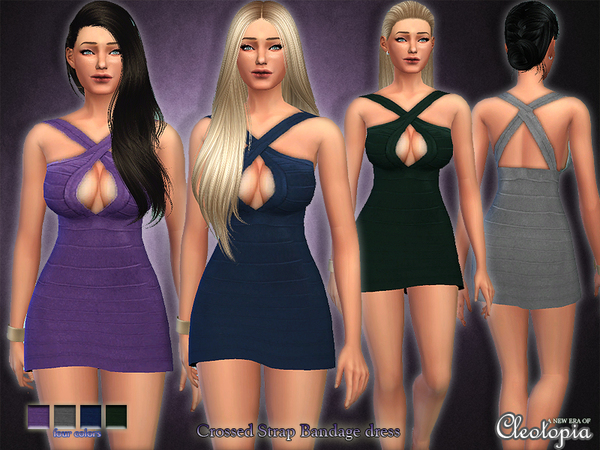 Set24- Crossed Straps Bandage Dress by Cleotopia