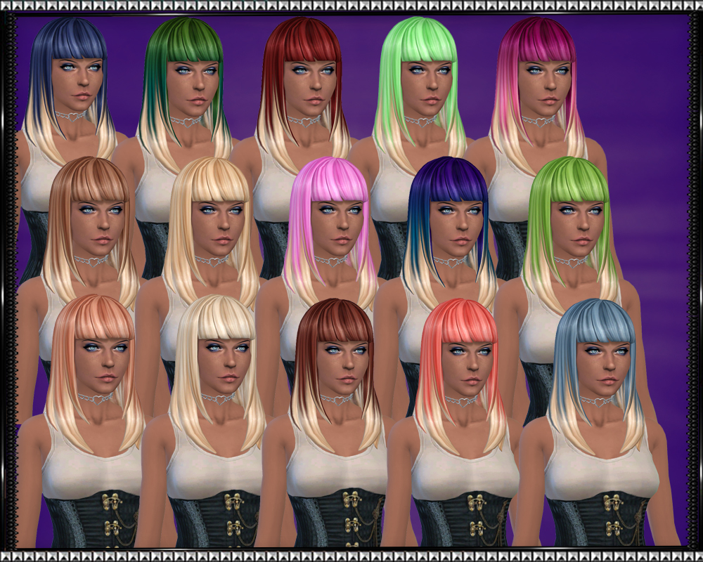 Color Vibe Hair w/ Blonde Tips by SrslySims