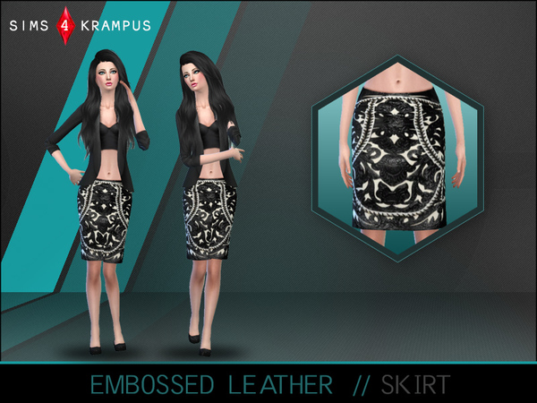 Embossed Leather Skirt by SIms4Krampus