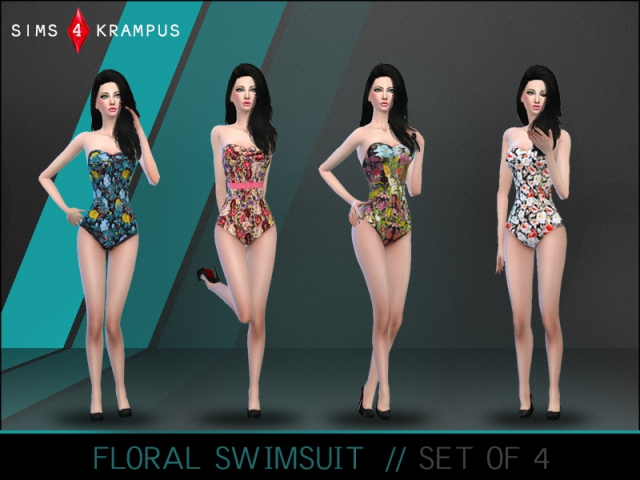 Stylish Floral Swimsuit Set of 4 by SIms4Krampus