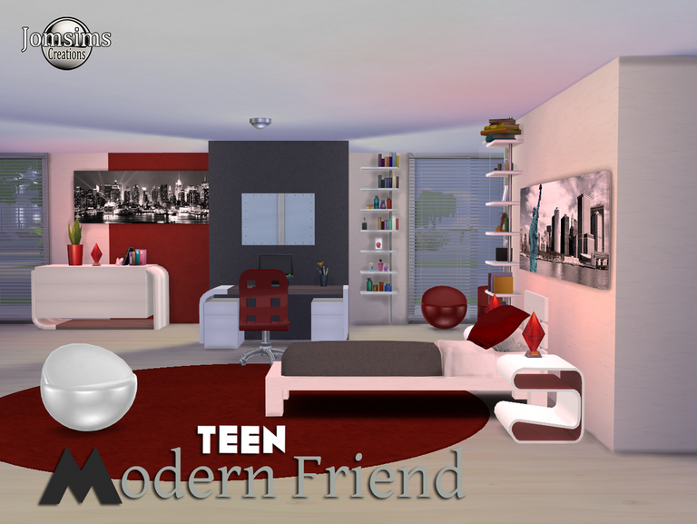 Modern Friend Teen Bedroom Set by JomSims