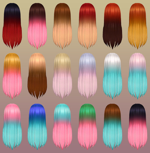 Alicia Hair for Females with Ombre Colors by NotEgain