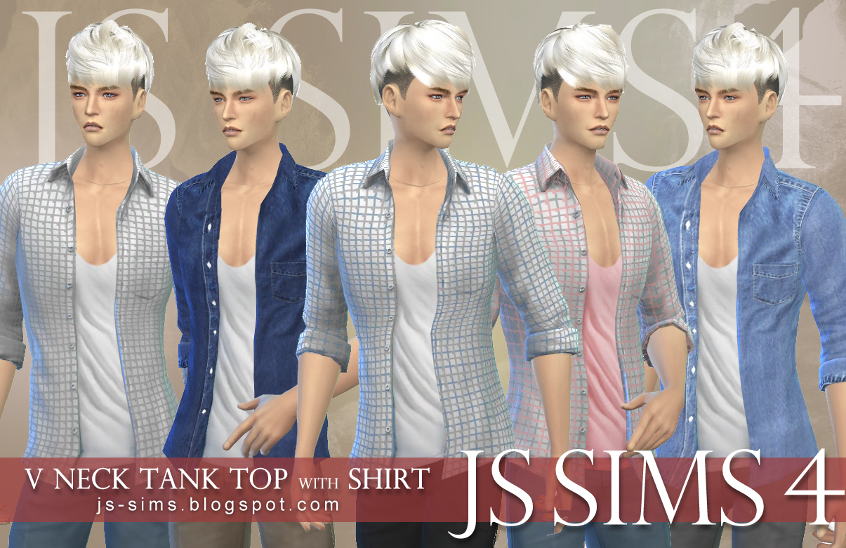 V Neck Tank Top With Shirt by JS Sims 4