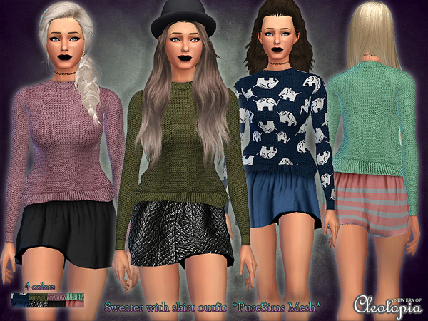 Set26- Knit Sweater with skirt outfit by Cleotopia