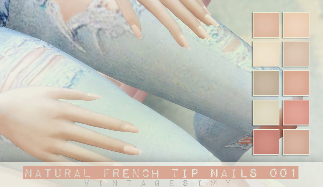 Natural French Tip Nails Set at Vintage Simy